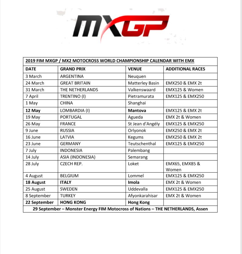 Calendario Mondiale Motocross.Ancora Modifiche Al Calendario Mxgp 2019 Mxreport