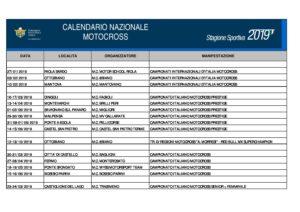 Calendario Sportivo.Calendario Sportivo Nazionale Motocross 2019 Update 03 01 19
