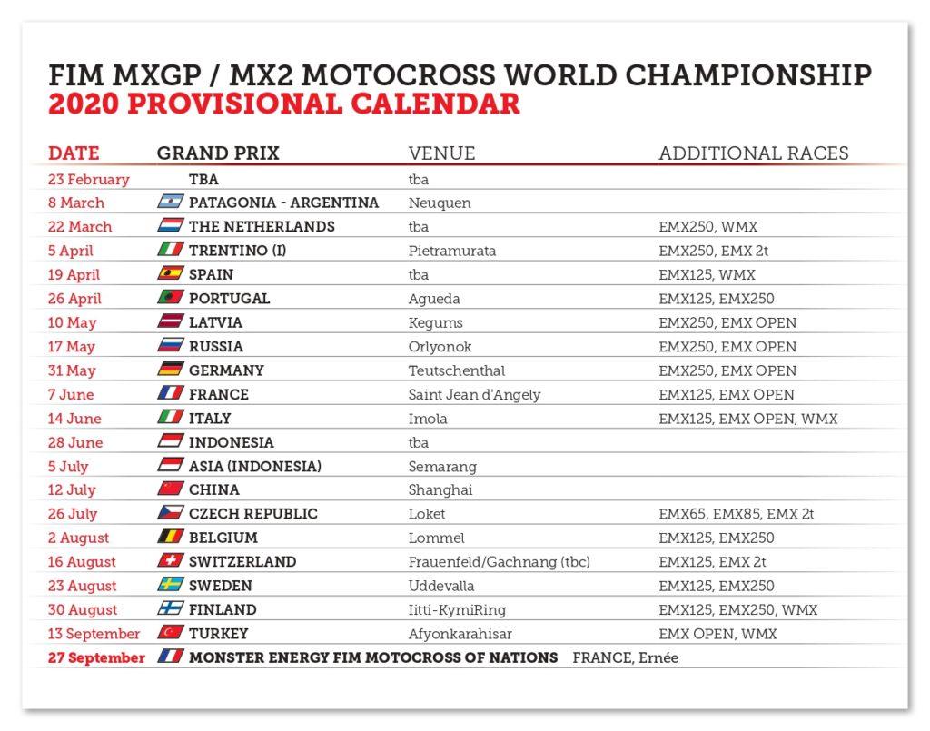 Mxgp Calendario 2020.Calendario Provvisorio Mondiale Mxgp 2020 Mxreport